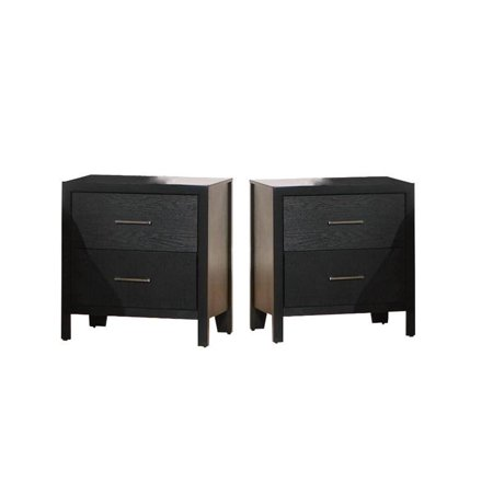 Home Square (Set of 2) 2 Drawer Nightstand in Black Finish 2 Drawer Square Nightstand