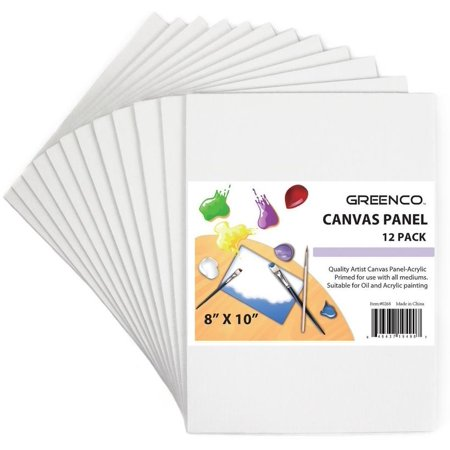 Greenco Professional Quality Canvas Panel 8 X 10 Inch  Pack Of 12