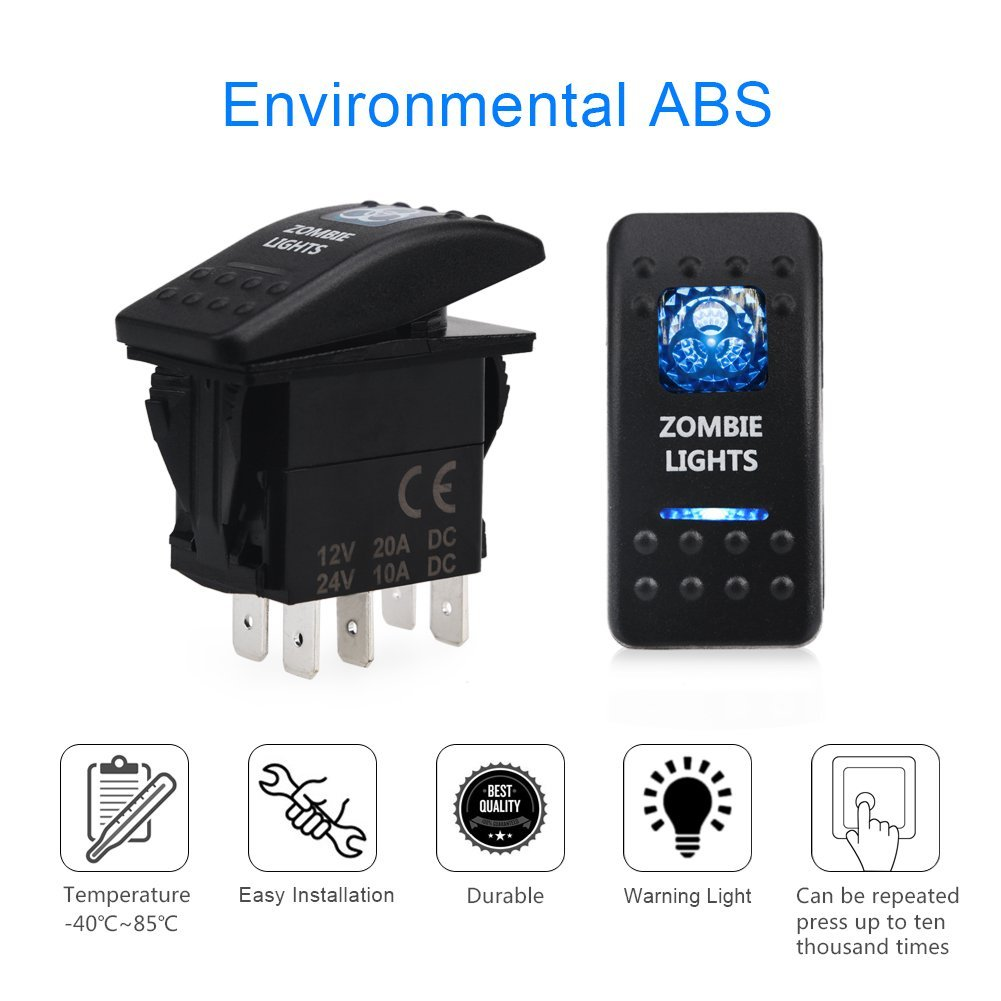 5 Pin Zombie Lights Illuminated Rocker Toggle Switch Waterproof Dc Light Wiring Diagram 20a 12v 10a 24v Blue On Off Spst For Auto Truck Boat Marine Rv Road