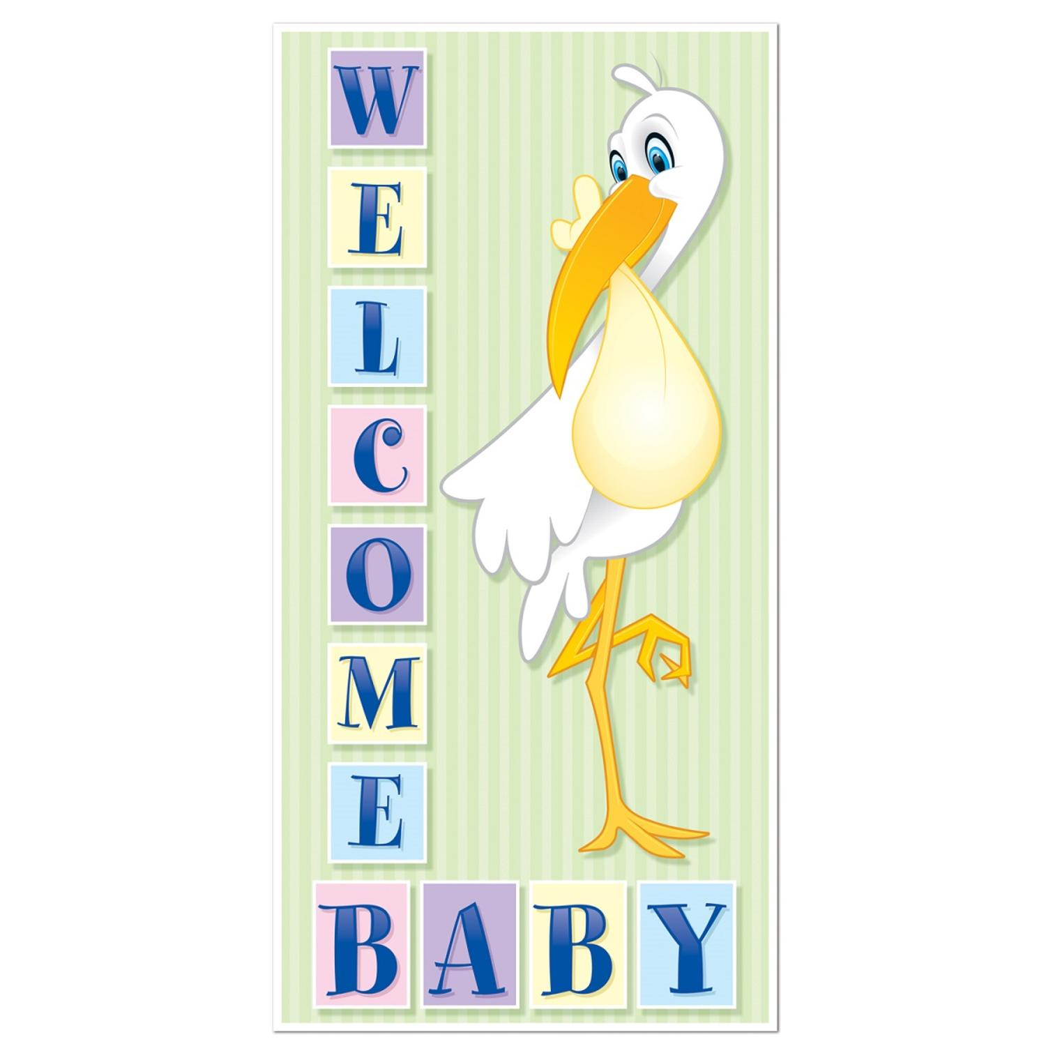 "Club Pack of 12 Baby Shower Themed ""Welcome Baby"" Door Cover Party Decorations 5'"