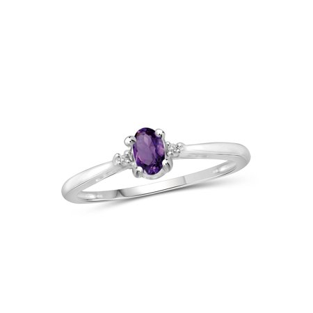 0.23 Carat T.G.W. Amethyst Gemstone and White Diamond Accent (Adj Silver Ring)