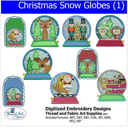 Threadart Machine Embroidery Designs Christmas Snow Globes (1) CD