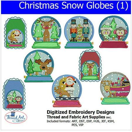 Threadart Machine Embroidery Designs Christmas Snow Globes (1) CD ()