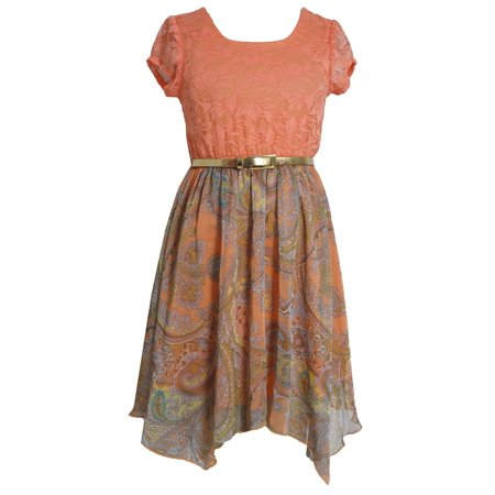 Bonnie Jean Little Girls 2T-6X Belted Lace to Paisley Chiffon Hanky Hem Dress, Orange, 5