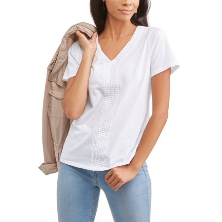 Women's Short Sleeve V-Neck Embellished Front T-Shirt