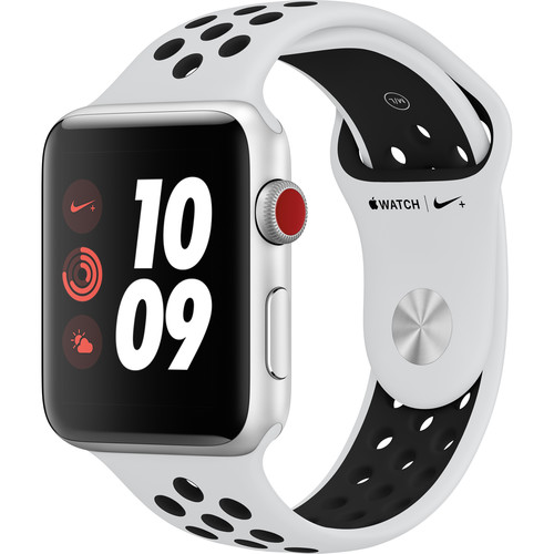 Refurbished Watch Nike+ Series 3 42mm Apple Silver Aluminum Case with White Sport Band GPS + Cellular MQLC2LL/A Non-OEM M/L Band