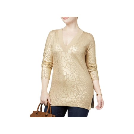 03f714c6cca5 MICHAEL Michael Kors - MICHAEL Michael Kors Womens Plus Metallic Animal  Print Pullover Sweater - Walmart.com