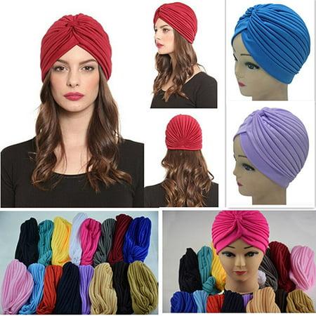 Moderna Women Stretchy Hat Turban Head Wrap Band Chemo Bandana Hijab Pleated Indian - Bandana And Hat