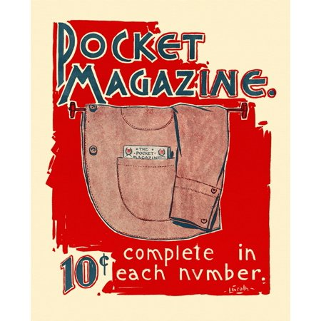 A coat hangs on a rod with an issue of The Pocket Magazine in the pocket Poster Print