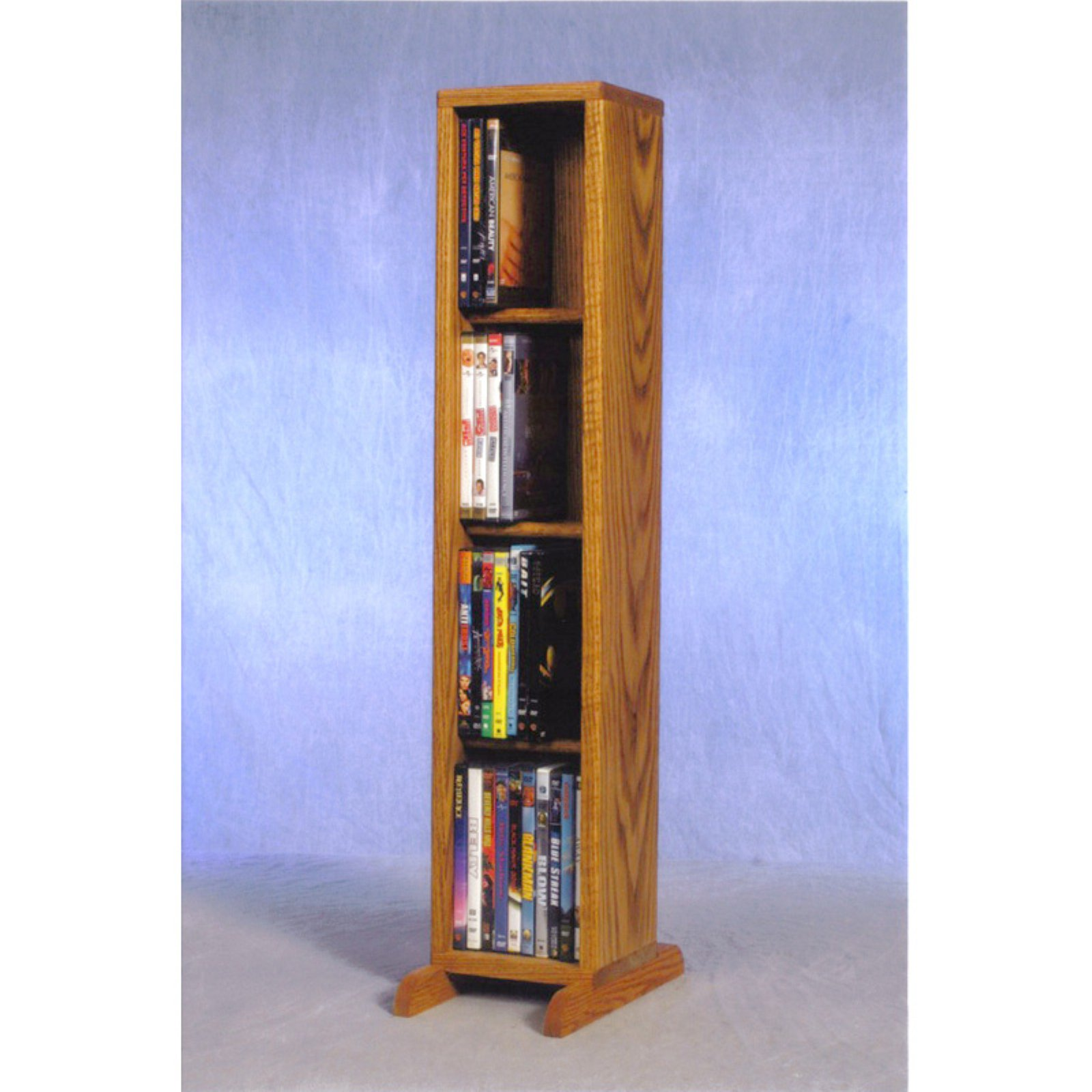 The Wood Shed Solid Oak 4 Row Dowel CD   DVD Combination Media Rack 7 in. Wide by The Wood Shed