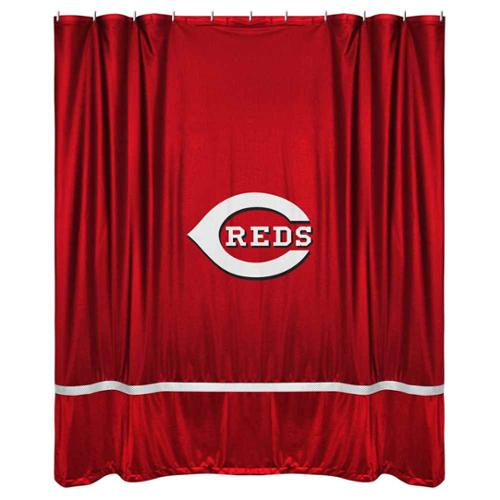 Cincinnati Reds Sidelines Shower Curtain in Bright Red