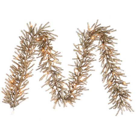 Vickerman 9' Mocha Artificial Christmas Garland with 50 Warm White LED Lights ()