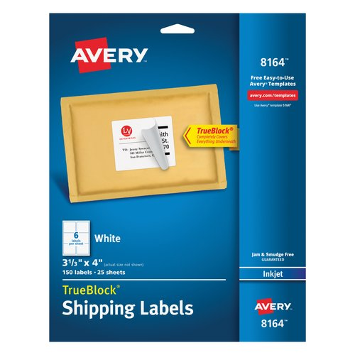"Avery White Shipping Labels with TrueBlock Technology for Inkjet Printers, 3-1/3"" x 4"", Pack of 150"