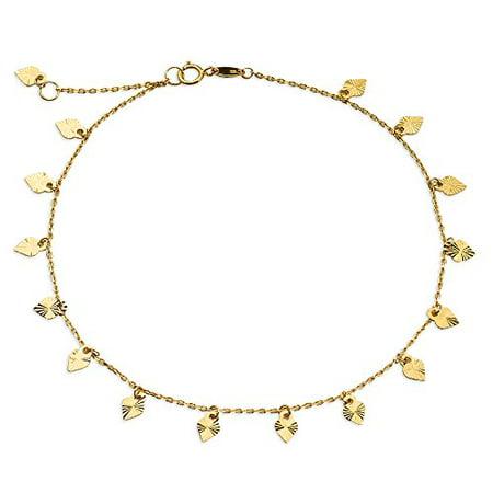 LOVEBLING 10K Yellow Gold .50mm Diamond Cut Rolo Chain with 15 Diamond Cut Heart pendants Anklet Adjustable 9