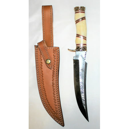 Handmade Damascus Steel Hunting Bowie Knife Real Bone Handle with Leather