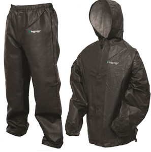 Click here to buy Frogg Toggs Pro Lite Rain Suit Black M L SKU: PL12140-01M L w Cloth by Frogg Toggs.