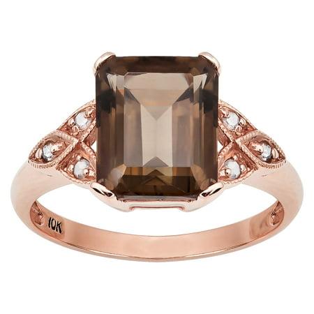 10k Rose Gold Vintage Style Genuine Emerald-cut Smoky Quartz and Diamond Ring