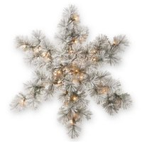 "32"" Snowy Bristle Pine Snowflake with Battery Operated Warm White LED Lights"