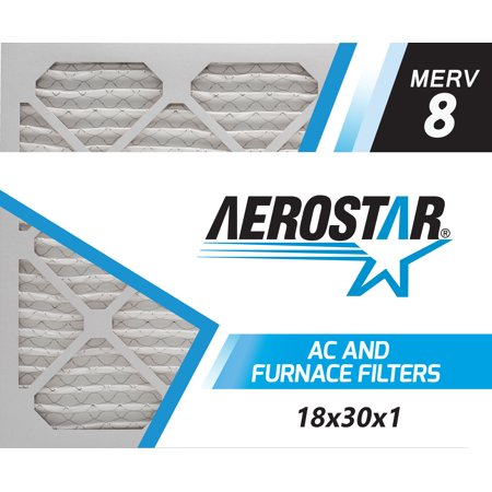 Aerostar 18x30x1 MERV  8, Pleated Air Filter, 18x30x1, Box of 4, Made in the USA