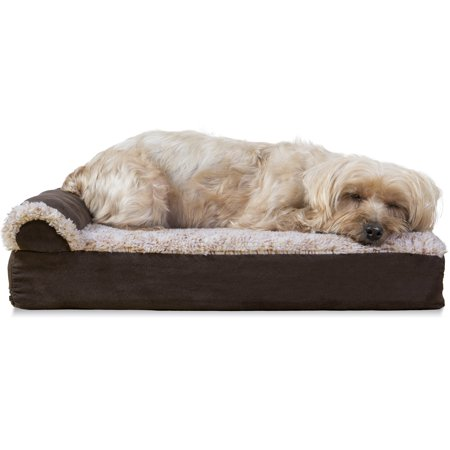 Cat Chaise (FurHaven Pet Dog Bed | Deluxe Orthopedic Faux Fur & Suede L-Shaped Chaise Couch Pet Bed for Dogs & Cats, Espresso,)