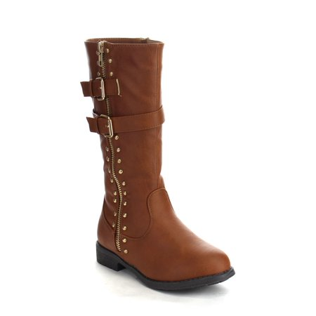 09 Boots - PUZZLE ANA-09 Children Girl's Comfort Mid Calf Studed Side Zipper Strap Boots