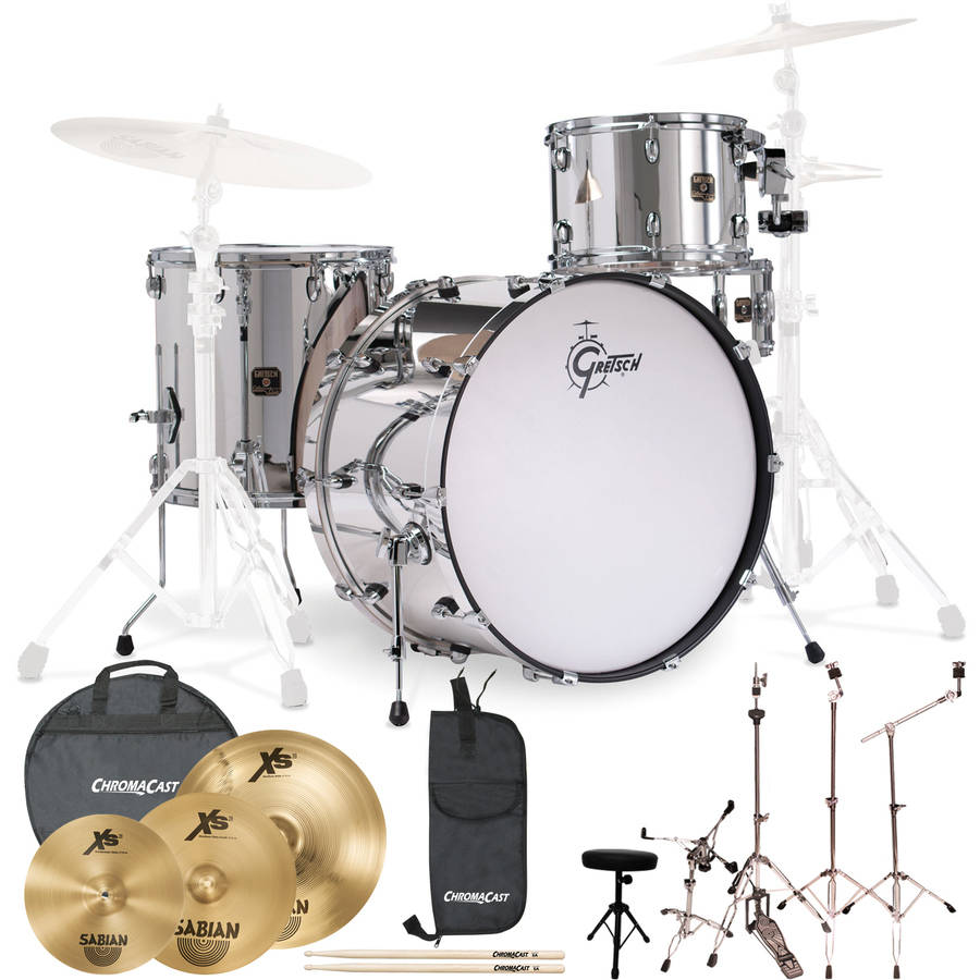 Gretsch Drums Rock Catalina Club 4 Piece Drum Shell Pro Pack with Sabian Performer Cymbal Set, ChromaCast Hardware and ChromaCast Accessories, Mirror Chrome (Box 2 of 3)