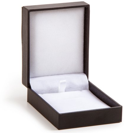Darice Necklace Box: Black Leather, 2.75 x 1.375 inches