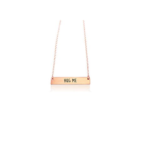 """Hypoallergenic Surgical Steel Adjustable Length: 17"""" 16"""" 15"""" Thin Rhodium Plated Inspiration Necklace And Pendant """" HUG ME"""" (Rose Gold Plated)"""