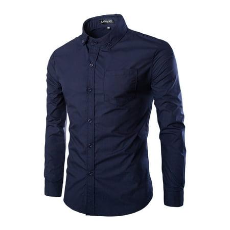 Men Contrast Color Long Sleeves Button Down Shirt w Pocket Blue L - image 1 de 1