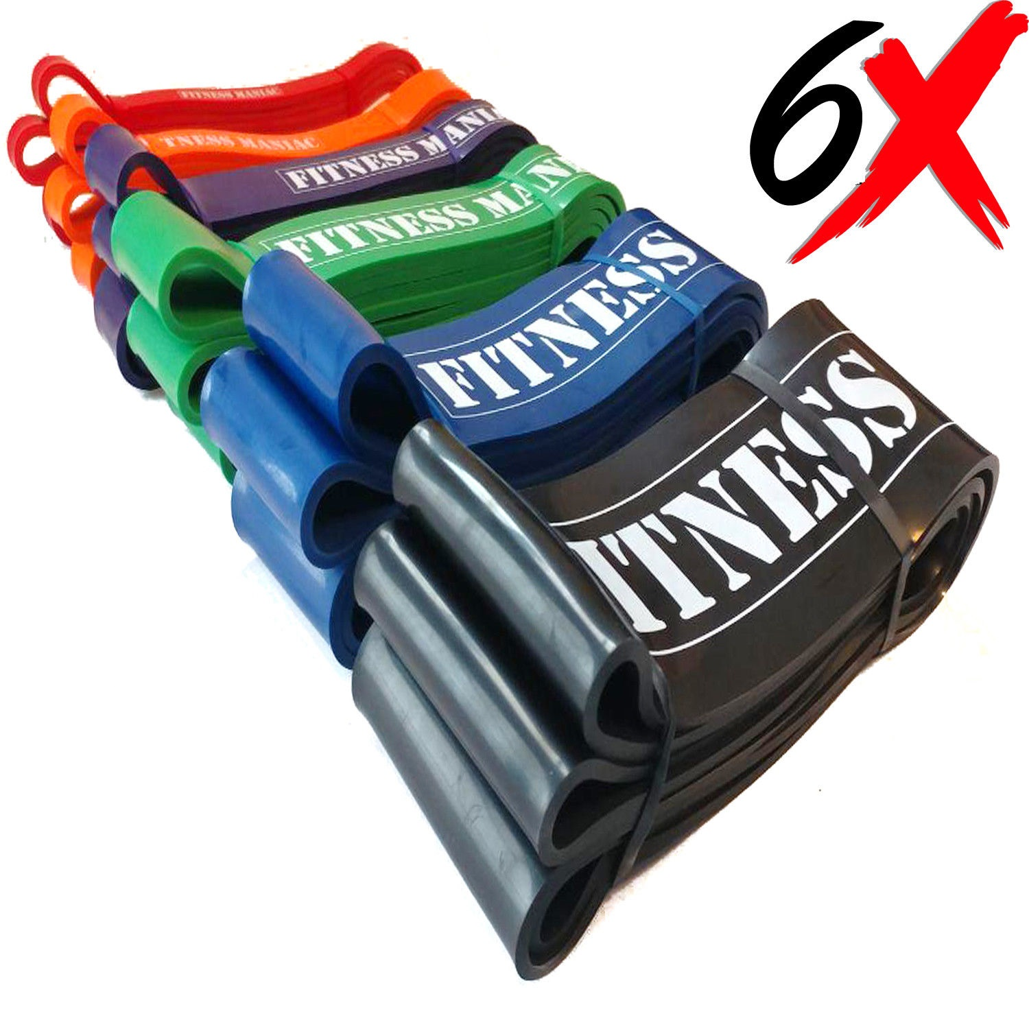 Fitness Maniac 6 Resistance Bands Set Trainers Pull Up