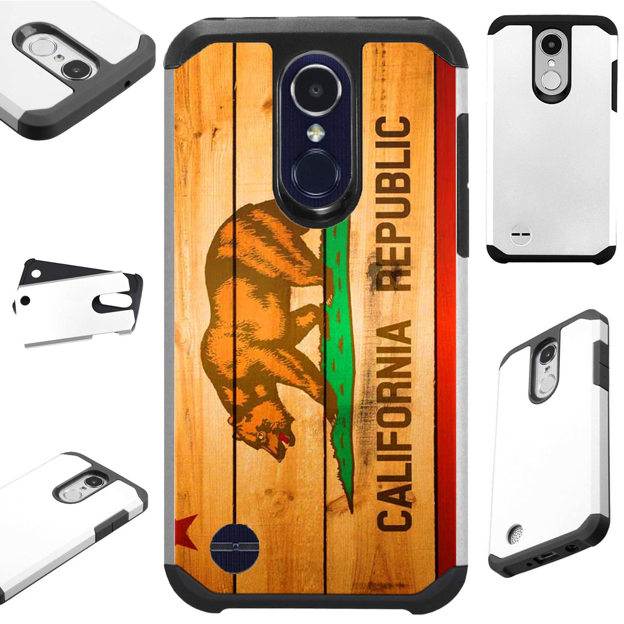 For LG Q7 (2018) | LG Q7 Plus (2018) Case Hybrid TPU Fusion Phone Cover (California Flag Wood)