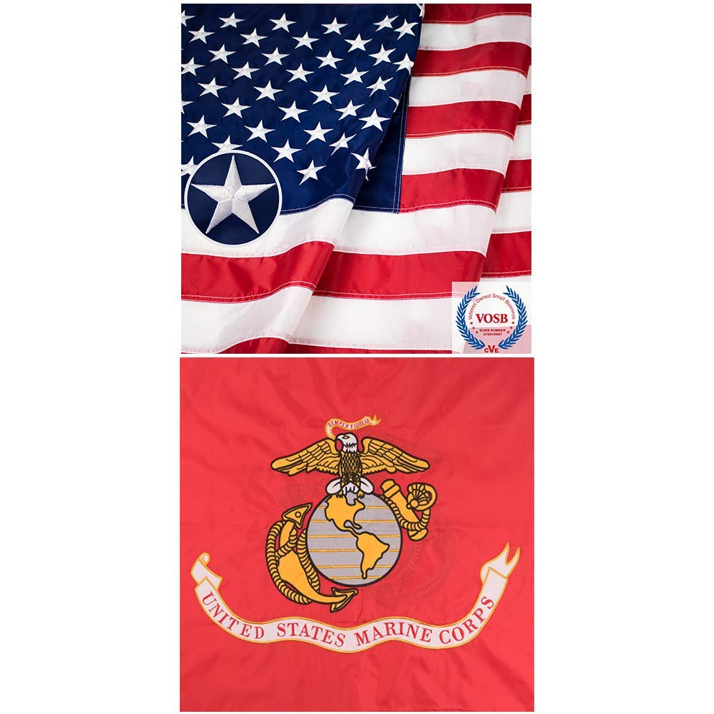 Jetlifee American Flag 3X5 Ft and 3x5 Ft USMC Flags US Marines Corps Embroidered Flags by US Veteran Owned Biz. (2 Pack)