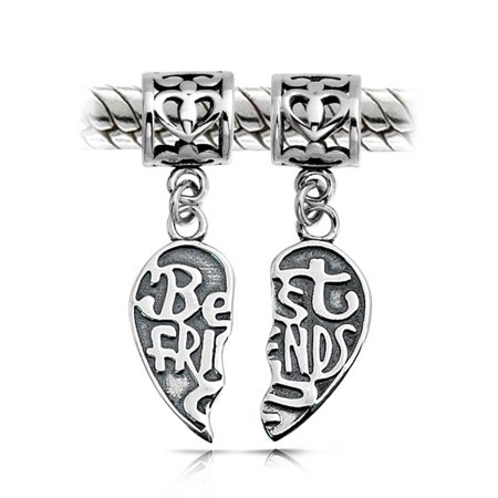 Bff Best Friends Forever Puzzle Two Piece Split Heart Shape Dangle Bead Charm 925 Sterling Silver Fits European