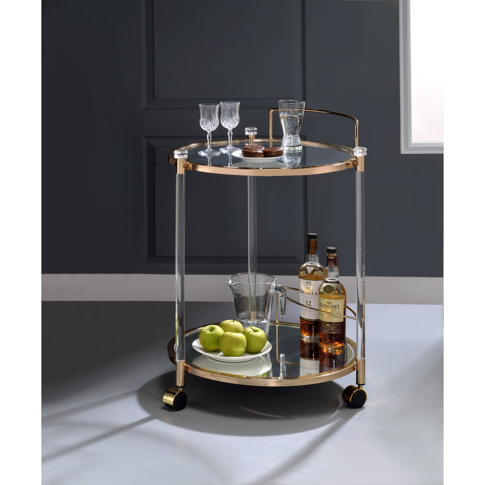 ACME Todd Serving Cart, Clear Glass & Gold by Acme Furniture