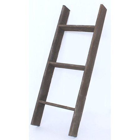 barnwoodusa reclaimed wood bookcase ladder 3 ft brown. Black Bedroom Furniture Sets. Home Design Ideas