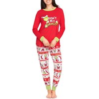 Dr. Seuess The Grinch Women's and Women's Plus 2-Piece Sleep Set, Matching Family Christmas Pajamas