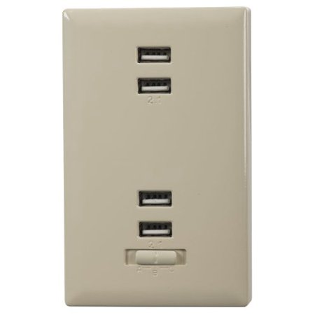 USB Wall Plate Charger (Almond), Easily converts any dual standard outlet into four USB charging outlets and single standard outlet By -