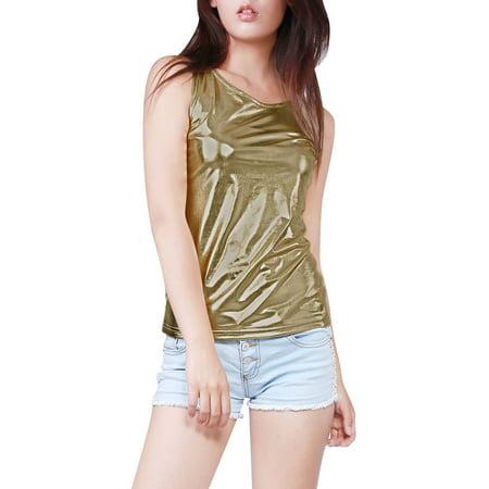 252e1e2c804b47 Unique Bargains - Women s U Neck Solid Slim Fit Stretch Shiny ...