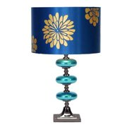 Decmode Metal and Glass Table Lamp, Blue