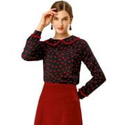 Women's Peter Pan Collar Ruffle Long Sleeve Sweet Blouse L Black