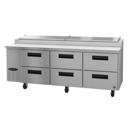 Hoshizaki CPT93-D6, Refrigerator, Three Section Pizza Prep Table, Stainless Drawers