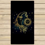 YKCG Sun and Moon Stars Starry Night Hand Towel Beach Towels Bath Shower Towel Bath Wrap For Home Outdoor Travel Use 30x56 inches