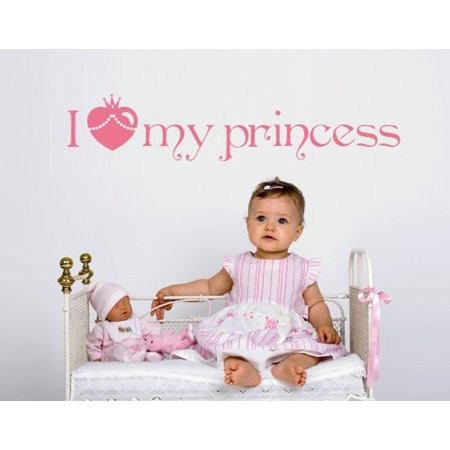 I Love my Princess Wall Decal - wall decal, sticker, mural vinyl art home decor - 4390 - White, 16in x - Silver 16in Strand