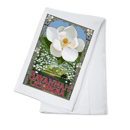 Savannah Magnolia (Savannah, Georgia - Single White Magnolia - Lantern Press Artwork (100% Cotton Kitchen)