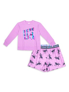 Wonder Nation Girls Lightweight Sweatshirt and Shorts Pajama Set, 2-Piece, Sizes 4-16 & Plus