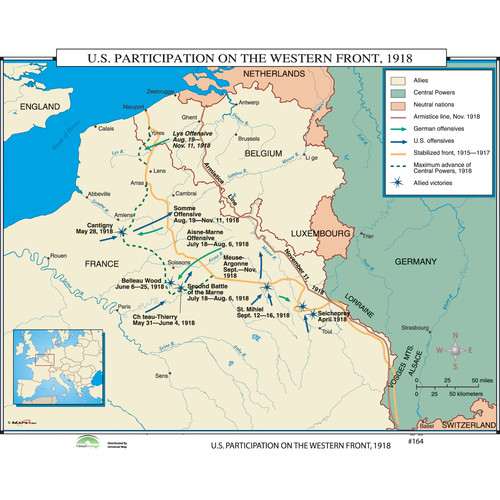 Universal Map World History Wall Maps - U.S. Participation on Western Front