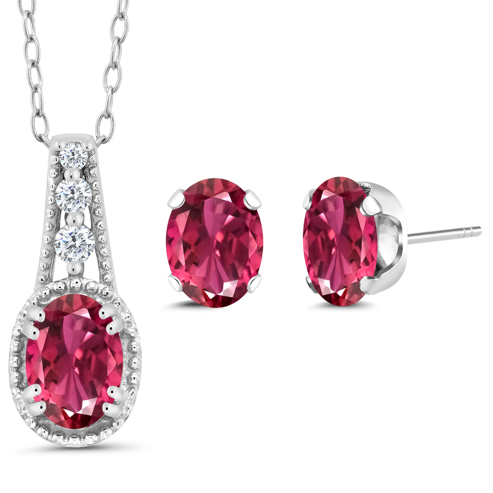 1.22 Ct Oval Pink Tourmaline 925 Sterling Silver Pendant Earrings Set by