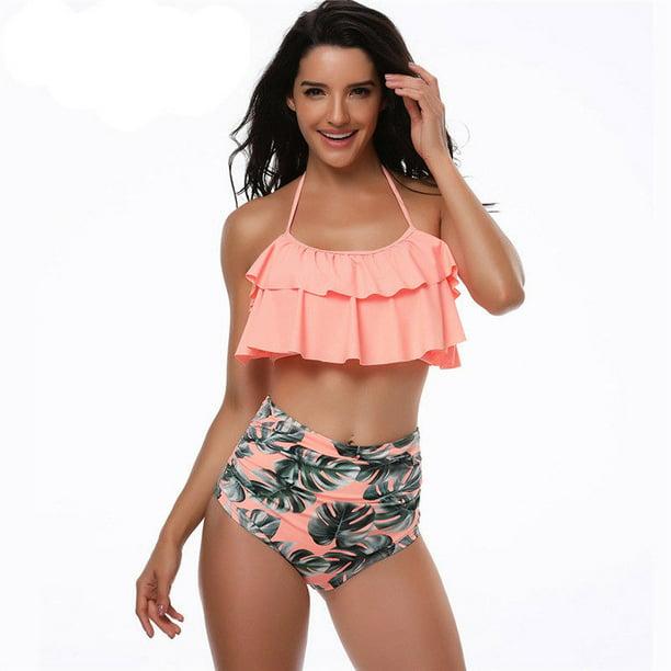 Zaxarra Mother Daughter Family Matching Ruffle High Waist Bikini Swimsuit Kids Swimwear Walmart Com Walmart Com
