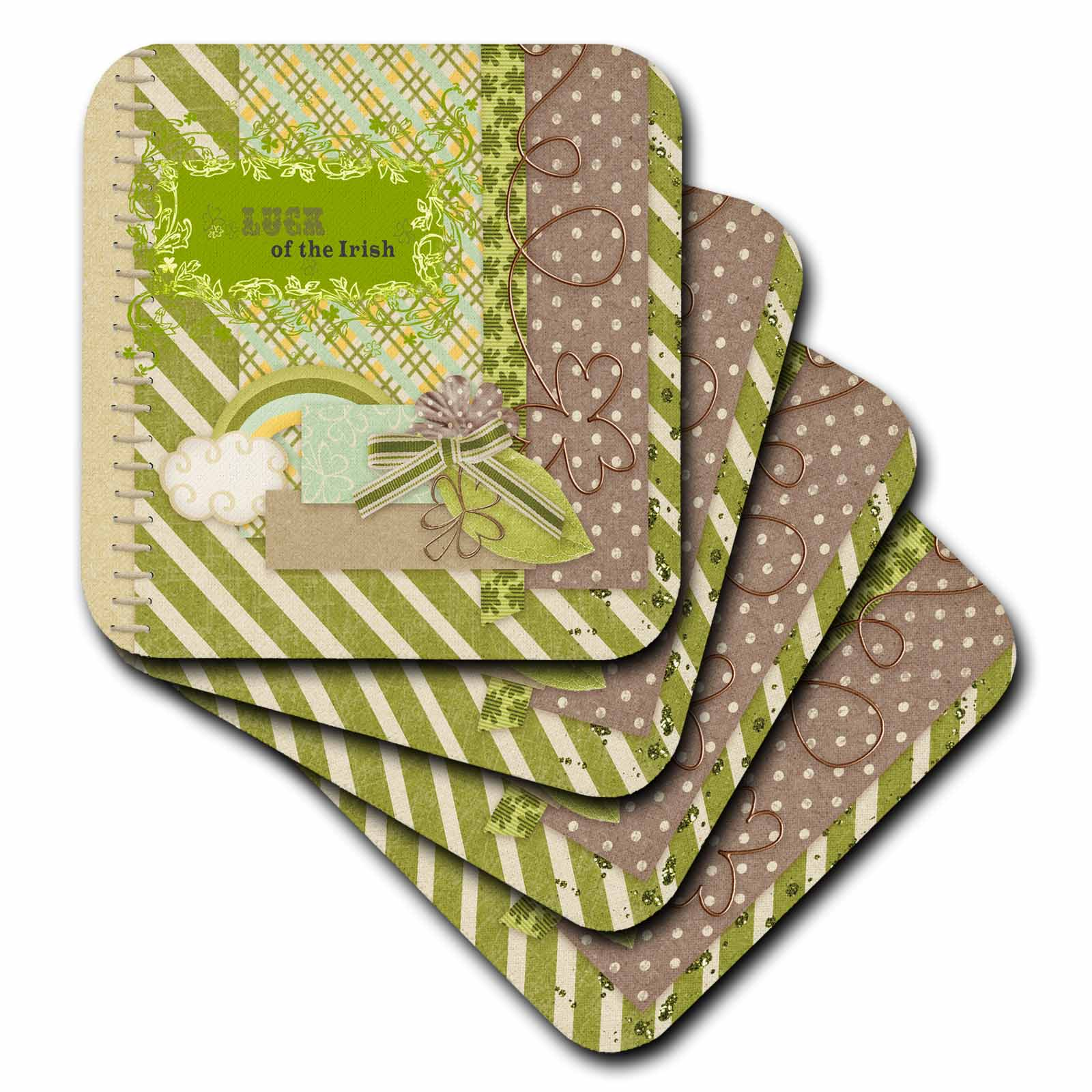 3dRose Luck of the Irish, Elegant Green Banner, Gold Wire Look Shamrocks, - Ceramic Tile Coasters, set of 4