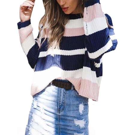 Women's Long Sleeve O-Neck Blouses Jumper Knitted Striped Pullover Tops